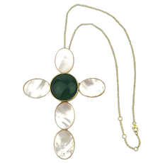 Big Bold Mother-of-Pearl Cross Necklace w/ Jade Glass Stone