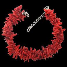 Pretty Red Branch Coral Bracelet