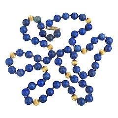 Long 14K Gold Lapis Bead Necklace 30 Gorgeous Blue Inches