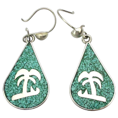 Taxco Sterling Silver Palm Tree Earrings Crushed Turquoise Inlay