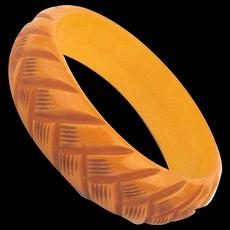 Old Bakelite Bangle Bracelet - Carved Braided Etched