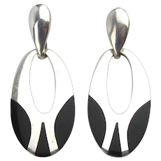 Taxco Sterling Silver Inlaid Onyx Drop Earrings