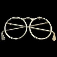 Big Sterling Silver Eyeglasses Pin Brooch
