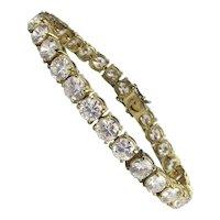 Gilded Sterling Silver Crystal Rhinestone Bracelet