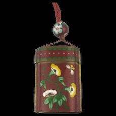 Old Cloisonne Enamel Box Pendant for Snuff n Stuff Necklace