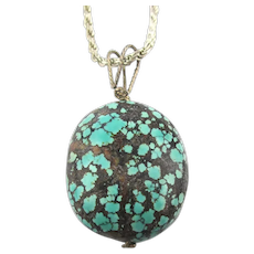 Kingman Spider Web Turquoise Stone Pendant Sterling Silver Chain Necklace