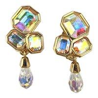 Swarovski Aurora Borealis Crystal Rhinestone Clip Earrings