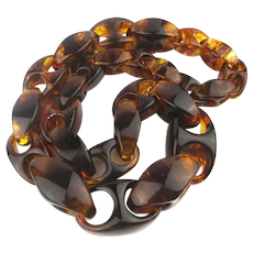 Amazing Lucite Tortoise Swirl Necklace Big n Bold