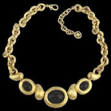 Vintage GIVENCHY Goldtone Necklace w/ Black Cabs