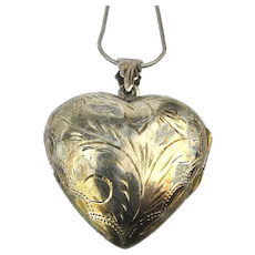 Sterling Silver Etched Heart Locket Box Pendant Necklace