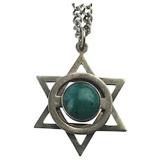 Judaica 925 Star of David Pendant on Long Sterling Silver Chain