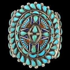 Zuni Cuff Bracelet Inlaid Gems Petit Point Turquoise Sterling - Ronni - Ramil Glodove GG