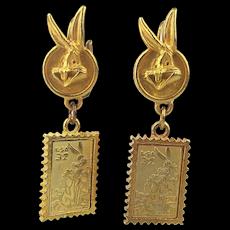 1997 Warner Bros. Bugs Bunny 32c Postage Stamp Pierced Earrings