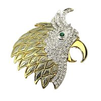 Vintage Rhinestone Squawking Bird Head Pin Parrot Brooch