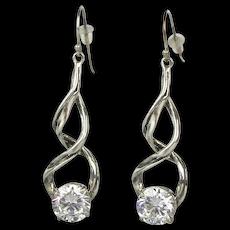 Long Sterling Silver Earrings w/ One Big Crystal