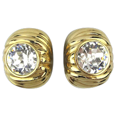 Vintage CINER Gilded Headlight Crystal Clip Earrings