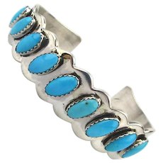 Navajo Sterling Silver Cuff Bracelet by Leroy James Sleeping Beauty Turquoise