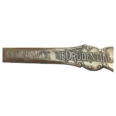 Antique Prudential Insurance Bronze Letter Opener Advertising Desk Piece