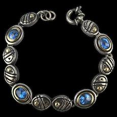 Vintage John Atencio Sterling Silver 18K Gold Bracelet w/ Blue Topaz
