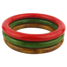 Set of 3 Bakelite Bangle Bracelets - Best Marbled Colors