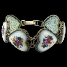 1930s Hand-Painted Enamel HEARTS Bracelet