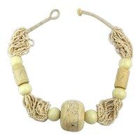 Impressive Big Bone Seed Beads Necklace