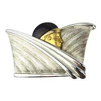 Art Deco Revival Flapper Girl Pin Stylized