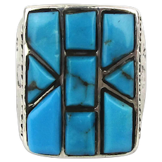 Fine Navajo Inlaid Turquoise Ring Sterling Silver 9 Stones