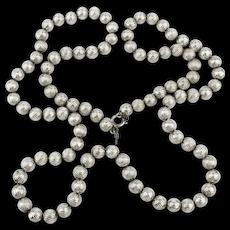 Vintage TRIFARI Pineapple Cut Silvertone Bead Necklace