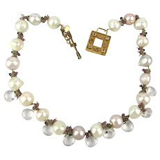 Gorgeous Signed Necklace Baroque Pearls w/ Crystals Sterling Silver