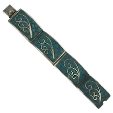 Vintage Taxco RMS Mexican Link Bracelet - Inlaid Turquoise