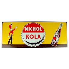 Old Original Nichol Kola Litho Tin Sign w/ Majorette - Soda Bottle c1940