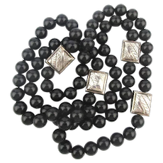 Long Black Onyx Bead Necklace w/ Sterling Silver Stations