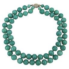 Vintage MARVELLA 2 Strand Turquoise Glass Bead Necklace