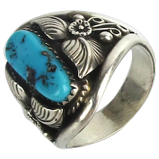 Navajo Beatrice Nez Sterling Silver Turquoise Ring Mens Size 12