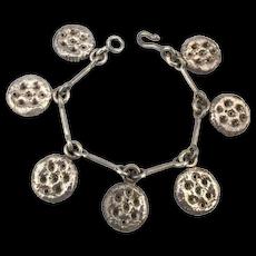 Heavy Sterling Silver Charm Bracelet Modernist - Pizzas Maybe
