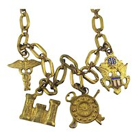WWII Sweetheart Charm Bracelet - Army Medical Eagle Rifles Symbols