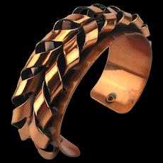 Modernist RENOIR Copper Cuff Bracelet - Twists n Turns
