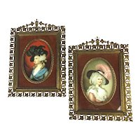 Pair of Victorian Picture Frames w/ Lady Prints w/ Big Hats