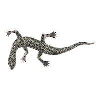Sterling Silver Marcasite Lizard Pin Brooch