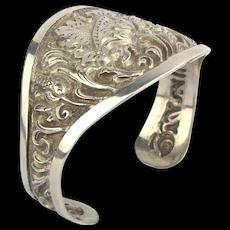 Vintage Yogyakarta 800 Silver Cuff Bracelet Handcrafted Java