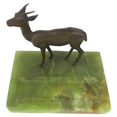 1930s Vienna Richard Thuss Bronze Deer Onyx Desk Figurine Argentor