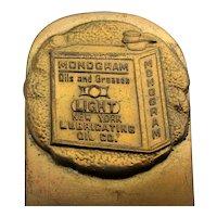 Victorian Bronze Advertising Letter Opener MONOGRAM Oil n Grease