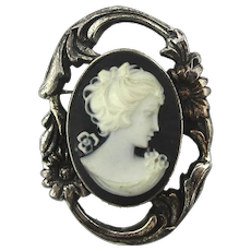 Sterling Silver Cameo Pin - Signed JOLAINE
