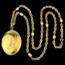 Big Gold-Filled CARL-ART Locket on Big G.F. Chain Necklace
