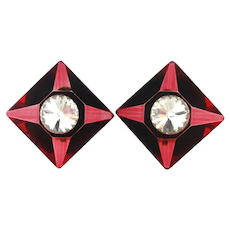 Wowza Red Lucite Crystal Headlight Clip Earrings