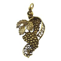 Judaica 10K Gold EPHRAIM Tribes of Israel Charm Pendant Grapes