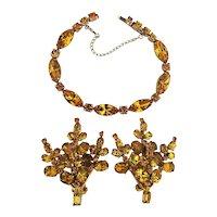 WEISS Amber Rhinestone Set - Bracelet w/ Clip Earrings