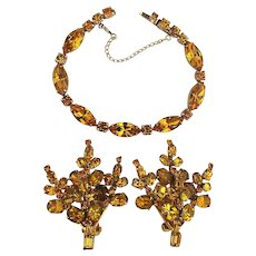 WEISS Amber Rhinestone Set - Bracelet w/ Clip Earrings