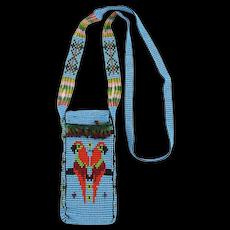 Vintage Hand-Beaded Purse Necklace Tropical Birds Parrot